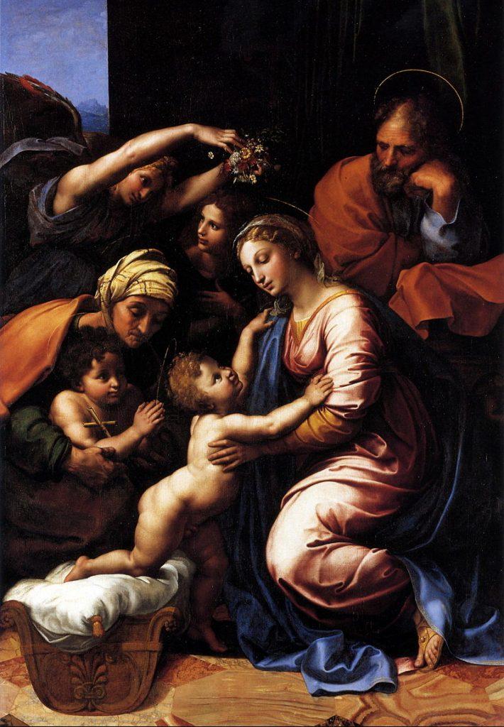"""""""La Sacra Famiglia di Francesco I"""" di Raffaello Sanzio realizzato nel 1518"""
