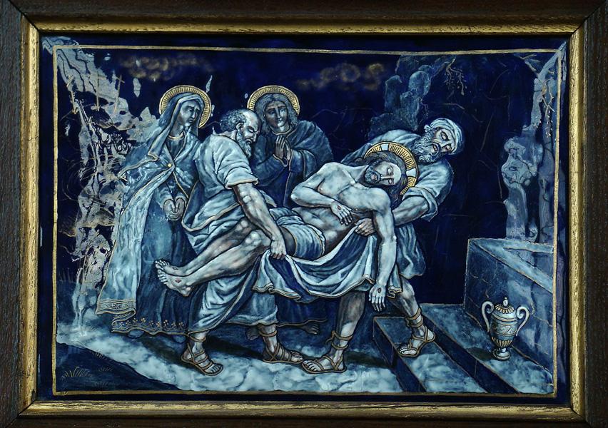 Rappresentazione della deposizione di Gesù nel sepolcro, XIV Stazione della Via Crucis (Cattedrale di Notre Dame des Champs)