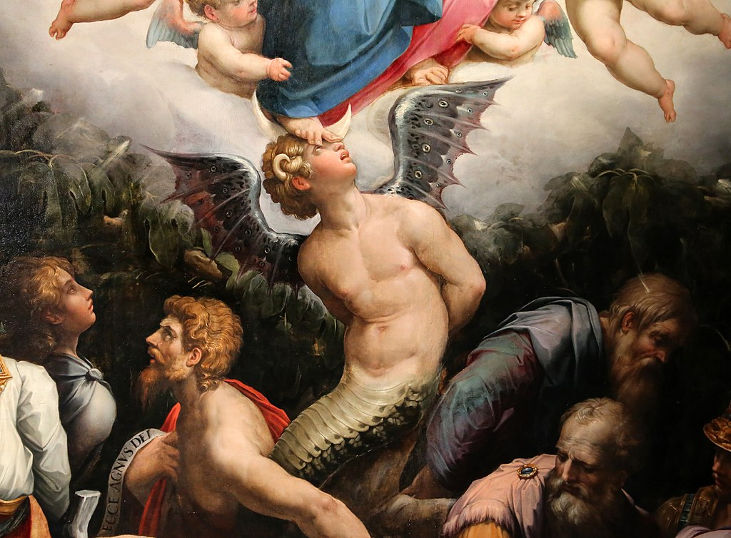 Primo piano di Lucifero sul dipinto dedicato all'Allegoria dell'Immacolata Concezione di Giorgio Vasari.