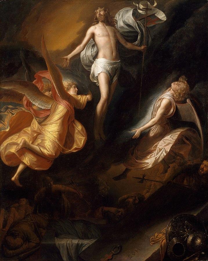 Resurrezione di Dipinto di Gesù risorto nella Gloria degli angeli e dei santi