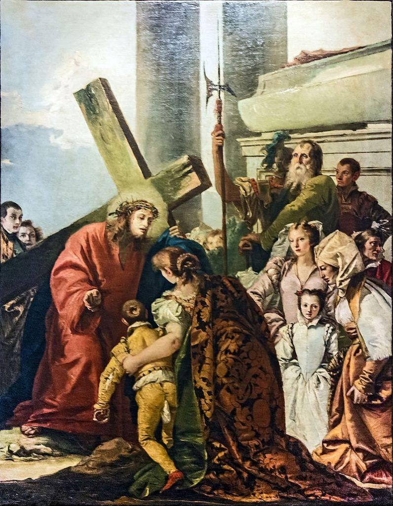 """Immagine della via crucis dell'ottava stazione, """"Le donne di Gerusalemme piangono Gesù"""""""