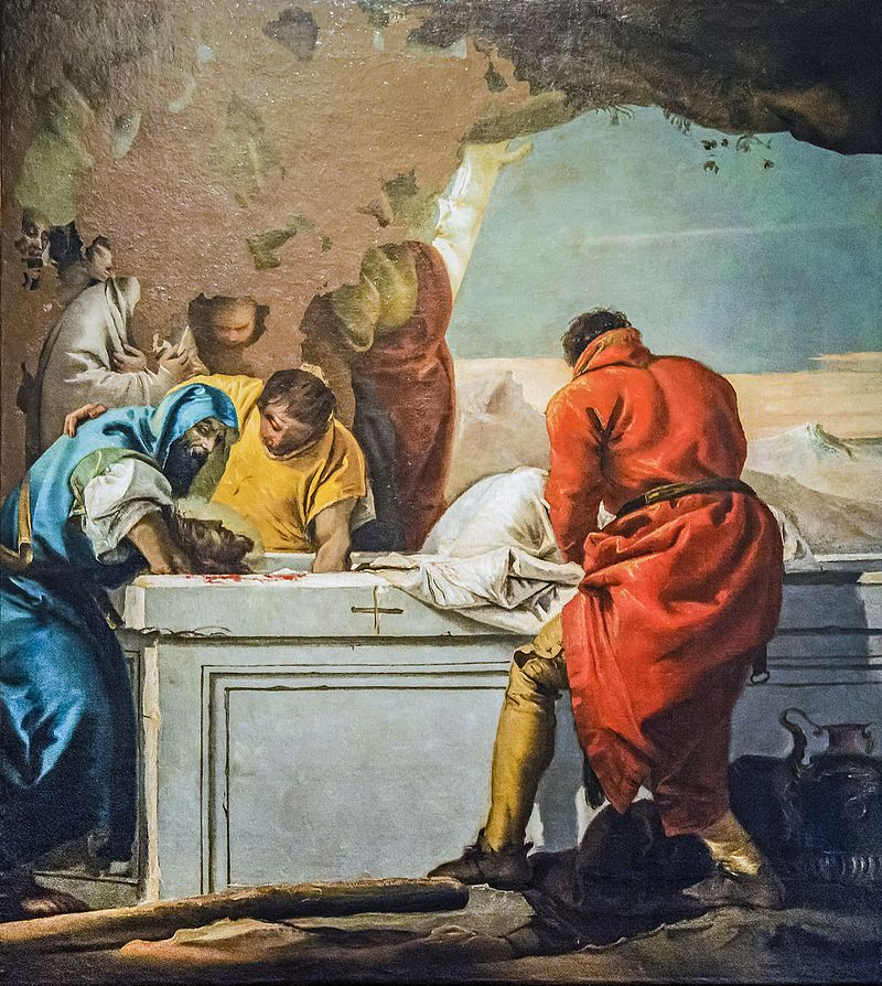 Immagine di Gesù che viene sepolto.
