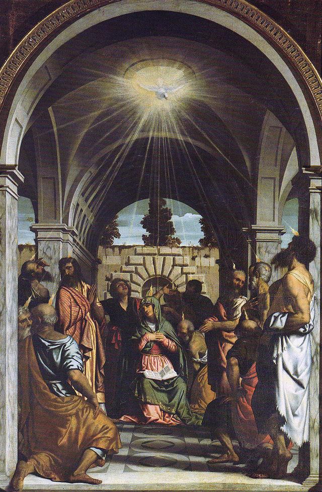 Dipinto di Moretto della Discesa dello Spirito Santo su Maria e gli Apostoli