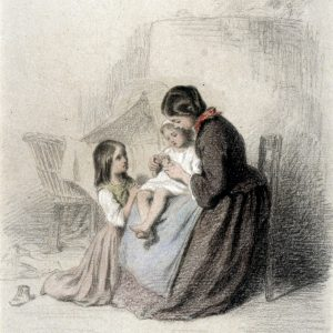 """Disegno """"Interior with Woman Teaching Child to Pray"""" di Pierre Édouard Frère"""