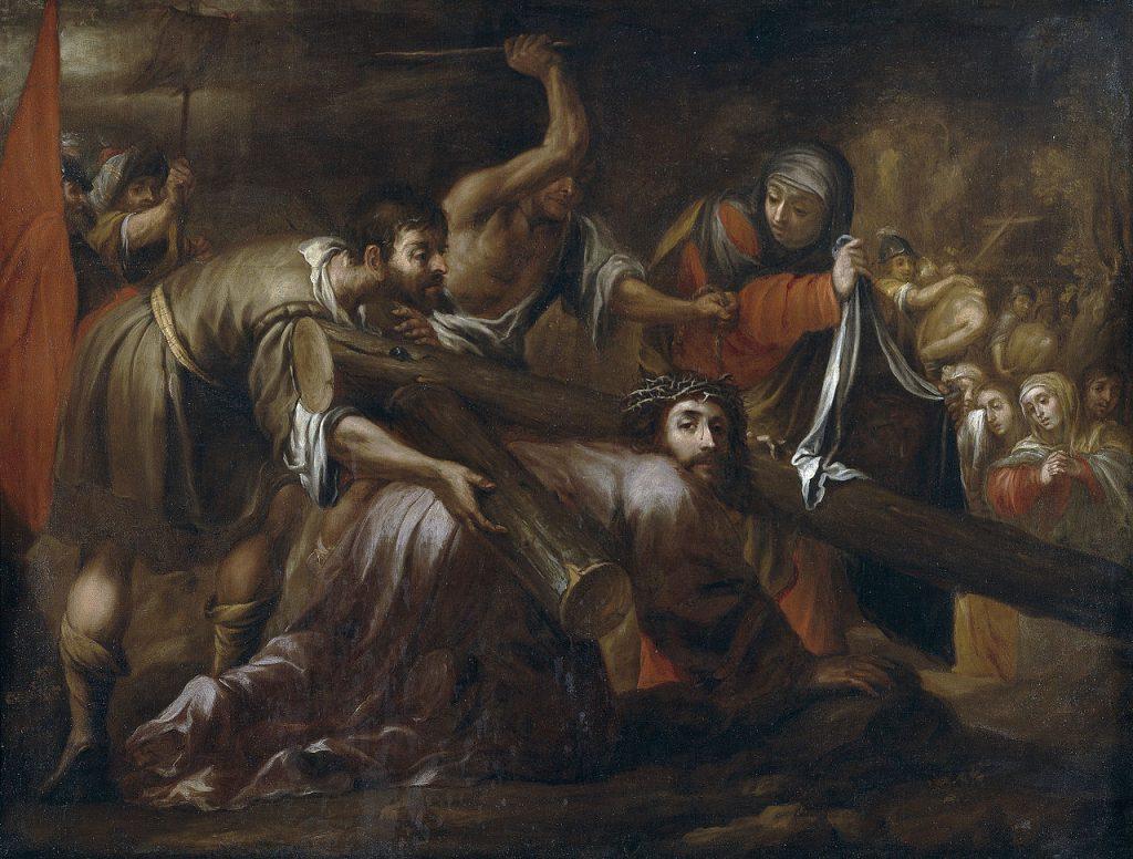Dipinto che rappresenta la salita al Calvario di Gesù col carico della croce.
