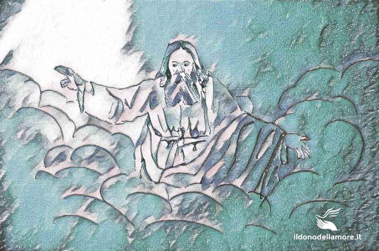 acquerello raffigurante Dio Padre nel regno dei cieli